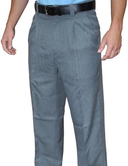 Smitty Heather Grey Pleated Umpire Base Pants with Expander Waistband