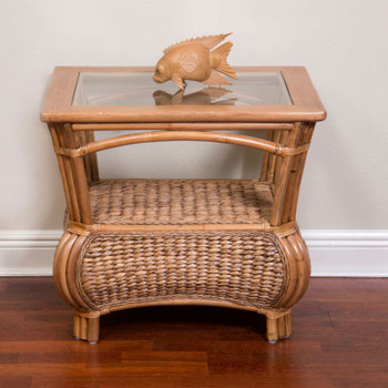 Havana End Table With Glass Top