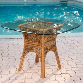 Panama Square Round Table Base with Glass Top