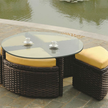 Saint Tropez Outdoor Round Sushi Table With Ottomans