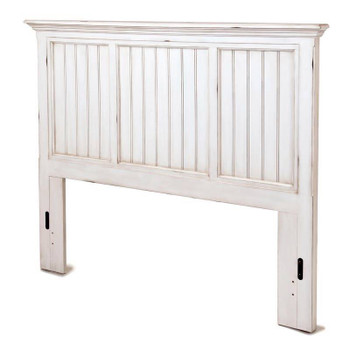Monaco Queen Headboard in a distressed blanc finish