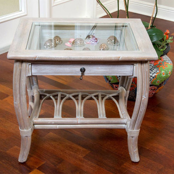 Cuba End Table with Glass in Rustic Driftwood finish