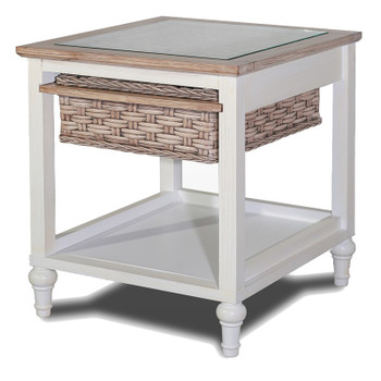 Island Breeze Basket End Table in Weathered Wood/White finish