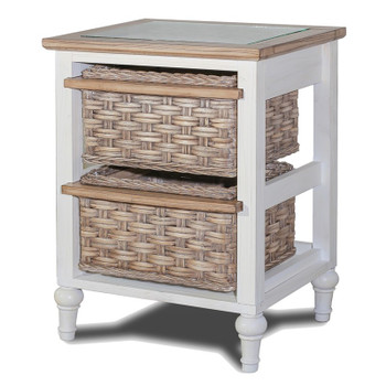 Island Breeze 2 Basket Storage Cabinet in Weathered Wood/White finish