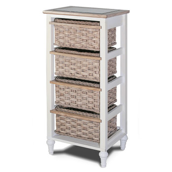 Island Breeze 4-Basket Vertical Storage Cabinet in Weathered Wood/White finish