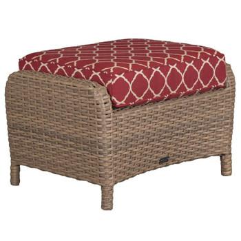 Lodge Outdoor Ottoman - Accord Crimson Fabric