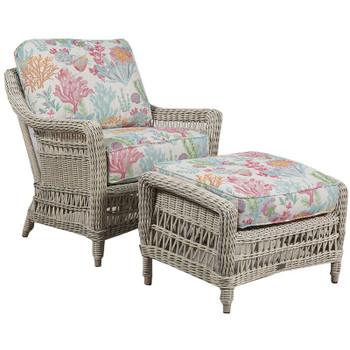 Paddock Outdoor 2pc Chair and Ottoman - Seas Fiesta Fabric