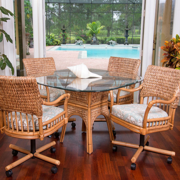 Key Largo 5 PC Dining Set with Swivel Caster Chairs