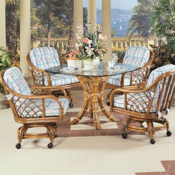 Santa Cruz 5 PC Dining Set with Caster Dining Chairs