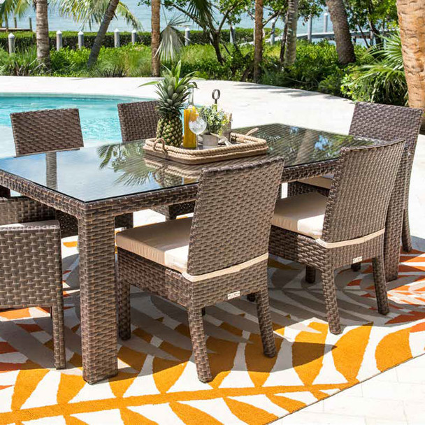 Samoa Outdoor Rectangular Woven Dining Table with optional glass top