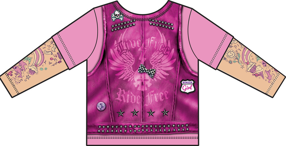 Faux Real Toddler Pink Biker Girl - Back View