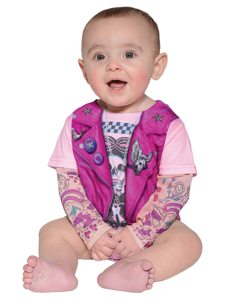 Faux Real Infant Pink Biker Romper - Model Front View