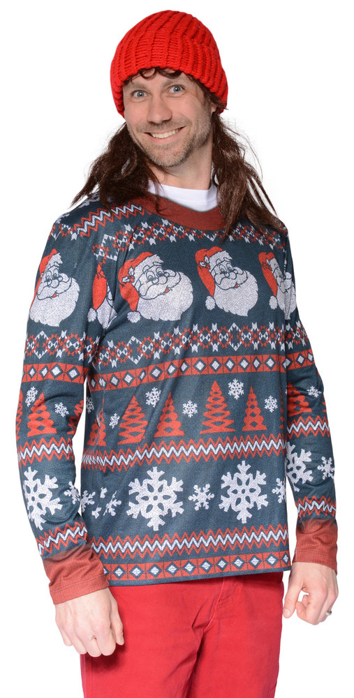 Faux Real Santa Stripe Sweater T-Shirt - Front View