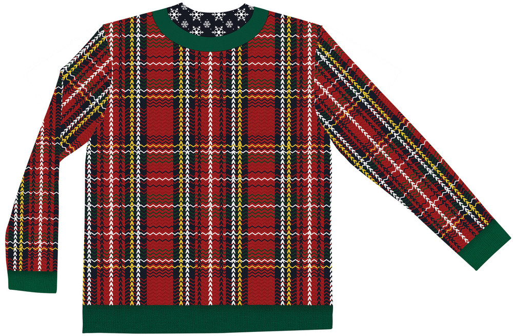 Faux Real Plaid Walrus Sweater T-Shirt - Back View