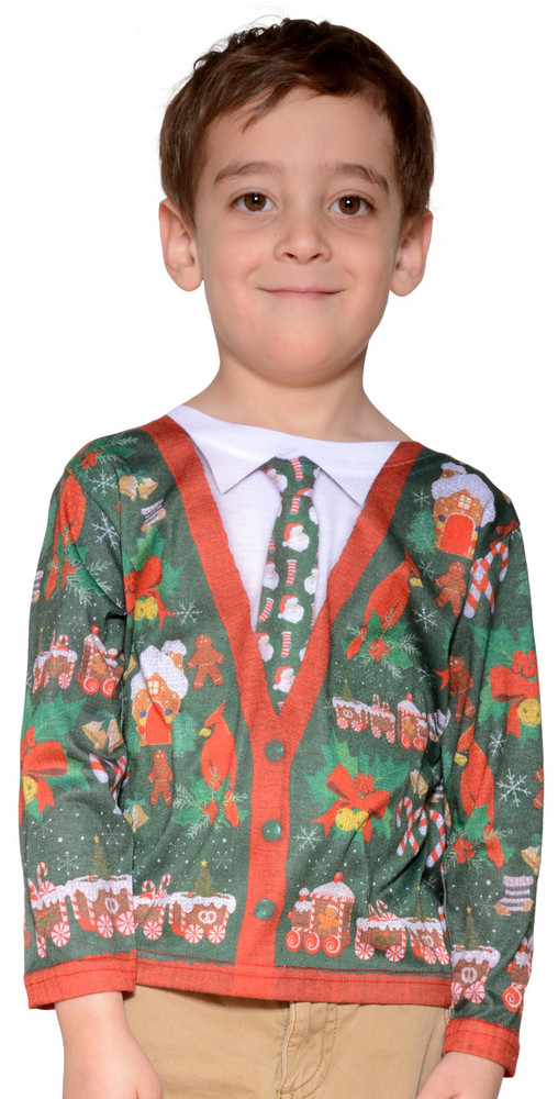 Toddler Ugly Christmas Cardigan Sweater T-Shirt - Front View