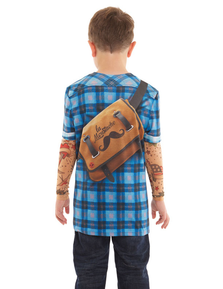 Youth Hipster Plaid Tattoo Tee W/ Mesh Sleeves