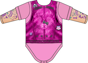 Faux Real Infant Pink Biker Romper - Back View