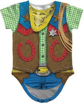 Faux Real Infant Cowboy Romper - Front