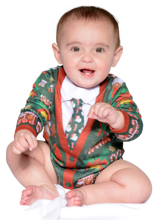 Infant Ugly Christmas Cardigan Romper - Front View