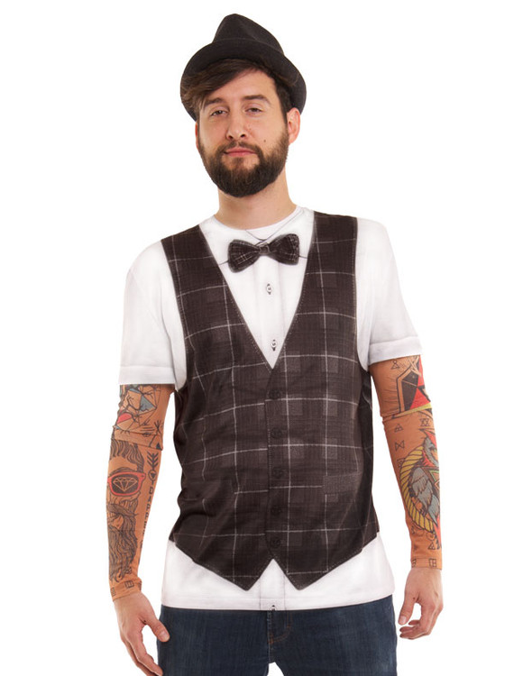 Hipster Bow Tie Vest w/ Tattoo