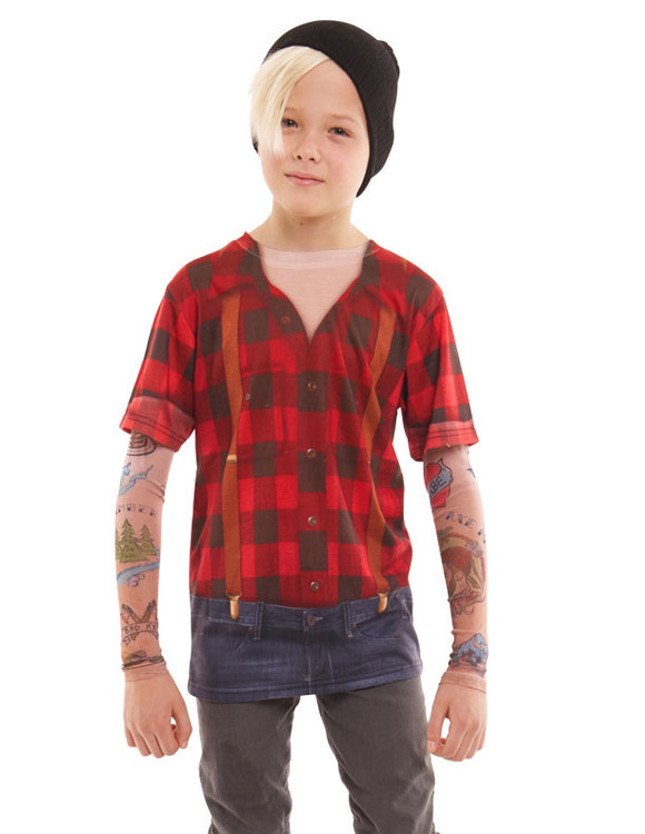 Youth Lumberjack Tattoo Tee w/ Mesh Sleeves