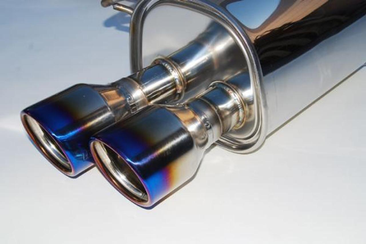 Invidia Q300 Twin Outlet Rolled Titanium Burnt Quad Tip Cat-Back Exhaust 15+ Subaru WRX/STI 4Dr