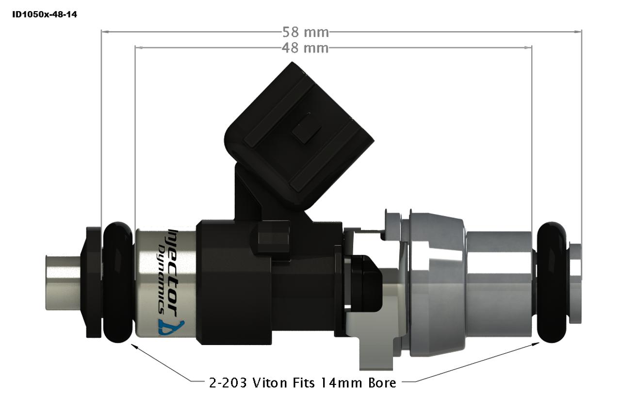 Injector Dynamics ID1050x Top Feed Fuel Injectors for Porsche 996/997.1 TT (1050.48.14.14.6)