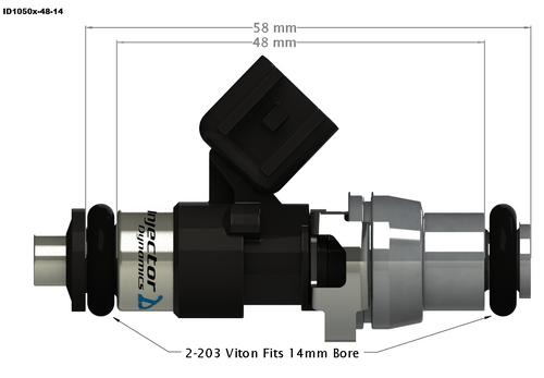 Injector Dynamics ID1050X Top Feed Fuel Injectors for Dodge Hellcat 6.2L (1050.48.14.14.8)