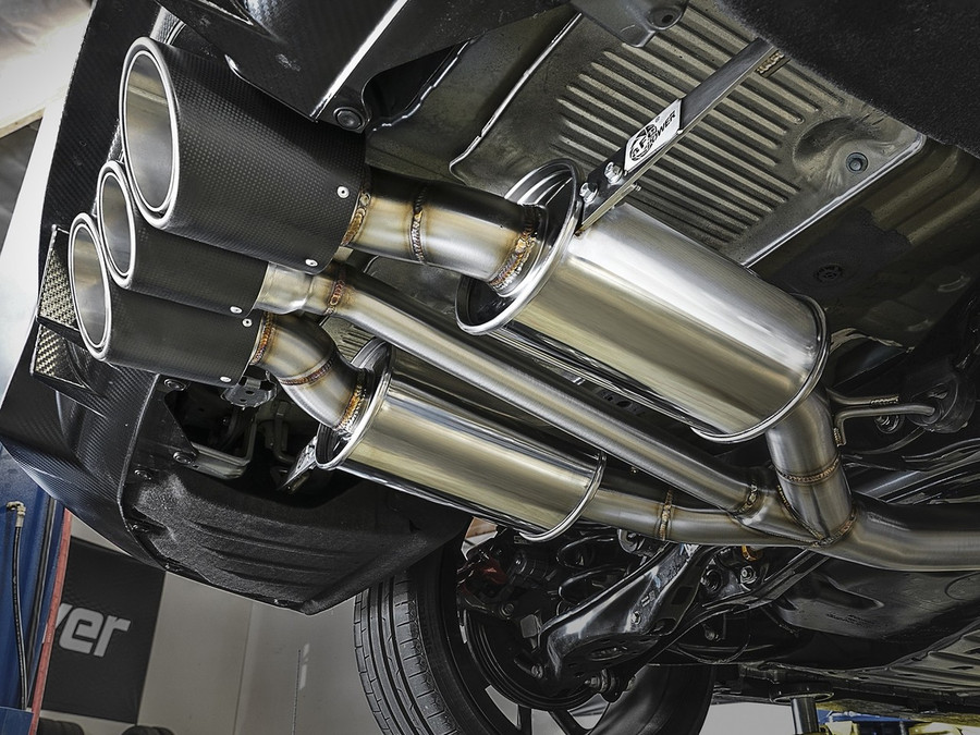 """aFe POWER 49-36616-C Takeda 3"""" 304 Stainless Steel Cat-Back Exhaust System w/ Tri-Carbon Tips for 17-18 Honda Civic Type R"""