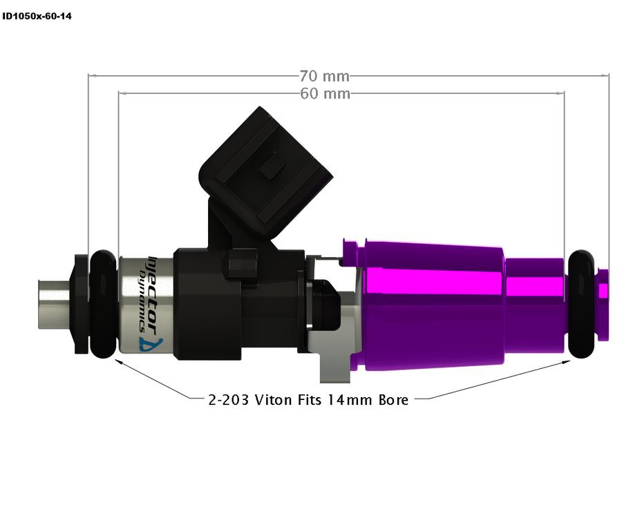 Injector Dynamics ID1050x Top Feed Fuel Injectors for Porsche 996/997.1 (1050.60.14.14.6)