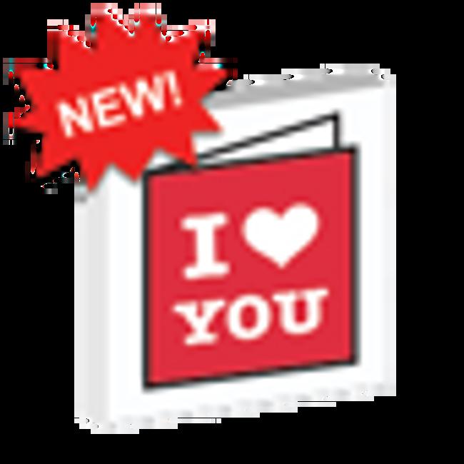 Custom Printed 'I Heart You' Lego Card - Red