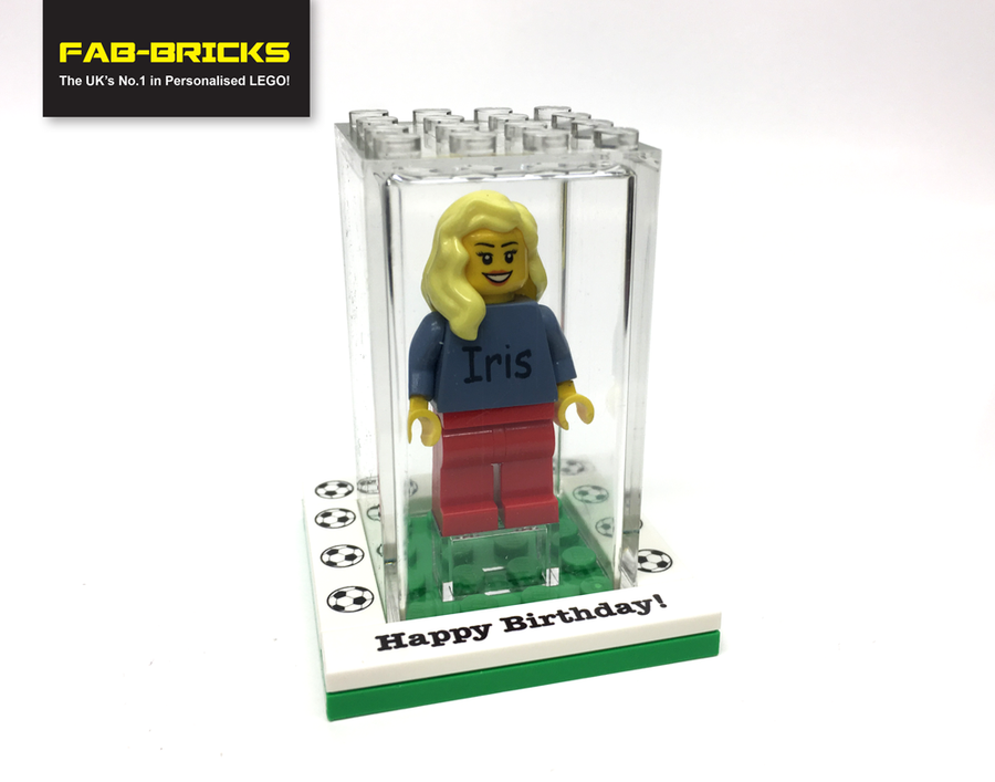 Small Happy Birthday LEGO display box with a FREE personalised Keyring!