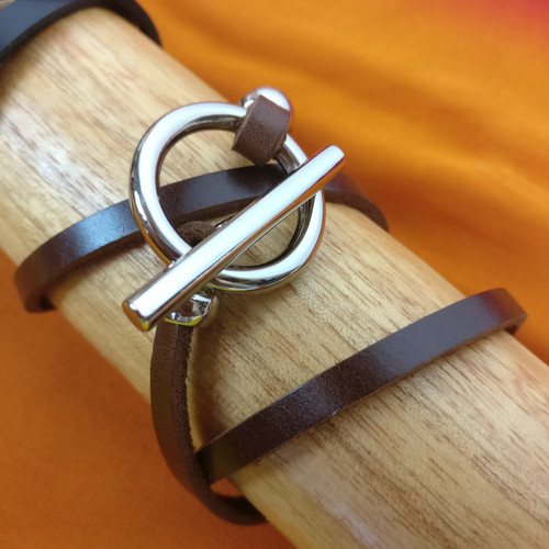 Leather Wrap Bracelet - Black or Brown