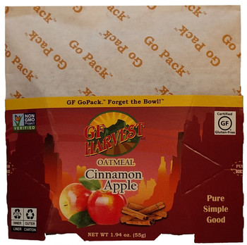 Cinnamon Apple Oatmeal 1.94oz. (55g)  GoPackTM  Case of 10 Certified gluten-free oats, apples, evaporated cane syrup, sea salt, and cinnamon.   Non-GMO, always gluten free. Delicious! GF Harvest GoPackTM are an innovative way to enjoy the our quality certified gluten-free products.  Single-serving, each in a collapsible water-proof package.