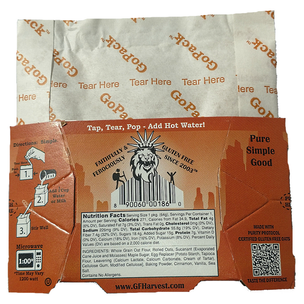 Made from gluten free oat flour, and other gluten free ingredients.  Certified gluten free, certified non-GMO ingredients.