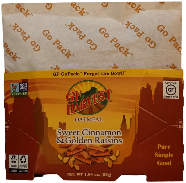 Sweet Cinnamon & Golden Raisin Oatmeal 1.94oz (55g) GoPackTM Case of 10 Certified gluten-free oats, golden raisins, evaporated cane syrup, granulated honey, sea salt, and cinnamon, and vanilla bean.  Non-GMO, always gluten free. Ready to GO! GF Harvest GoPackTM are an innovative way to enjoy the our quality certified gluten-free products.  Single-serving, each in a collapsible water-proof package.