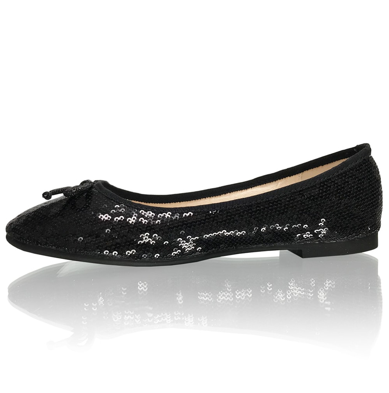 Rounded Toe Black Sequins Formal Flats