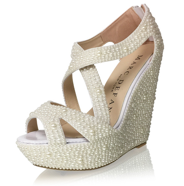 Handmade Pearl Luxury Bridal Strappy Wedges