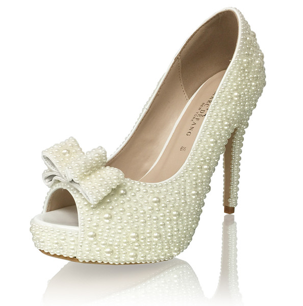 Pearl Bridal Heels with Bow Accent