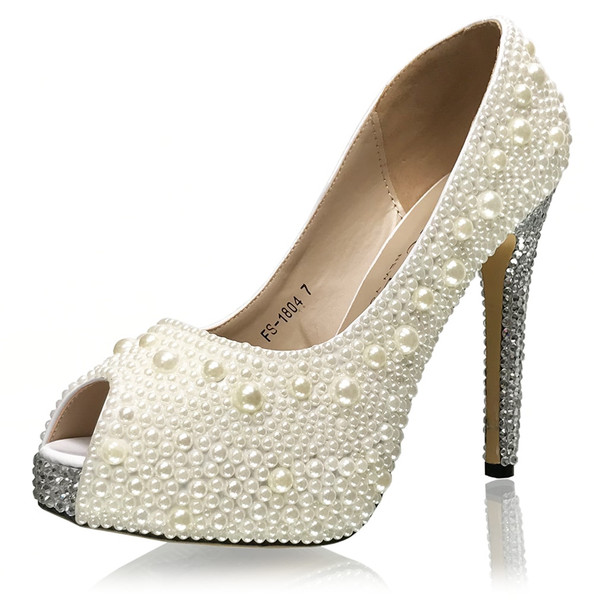 Pearl Pumps with Crystal Heel & Toe Accent