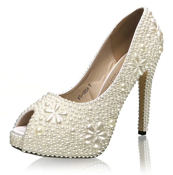 Luxury Bridal Pearl Pumps with Floral Motif