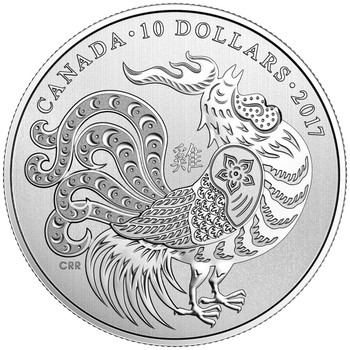 2017 $10 FINE SILVER COIN YEAR OF THE ROOSTER