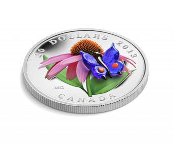 2013 $20 FINE SILVER COIN - PURPLE CONEFLOWER AND VENETIAN GLASS EASTERN TAILED BLUE BUTTERFLY
