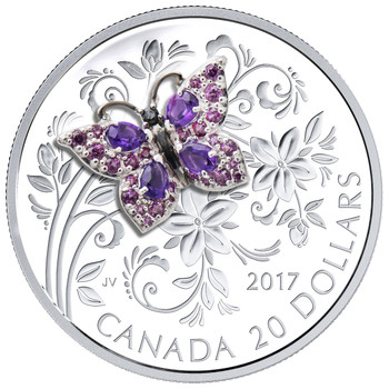 2017 $20 FINE SILVER COIN BEJEWELED BUGS: BUTTERFLY