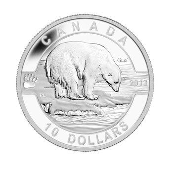 2013 $10 FINE SILVER COIN O CANADA SERIES - THE POLAR BEAR