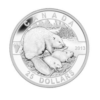2013 $25 FINE SILVER COIN - O CANADA SERIES - THE BEAVER