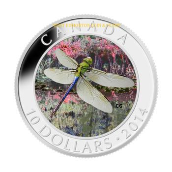 2014 $10 FINE SILVER COIN - DRAGONFLY - GREEN DARNER