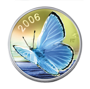 2006 50-CENT STERLING SILVER COIN - SILVERY BLUE  BUTTERFLY