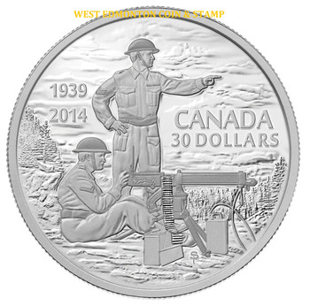 2014 $30 FINE SILVER COIN 75TH ANN. OF THE DECLARATION OF THE SECOND WORLD WAR