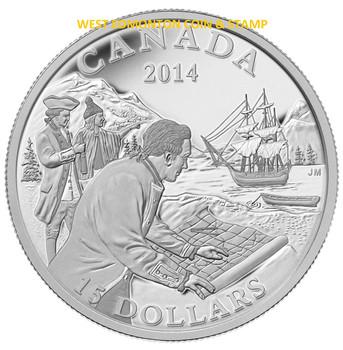 2014 $15 FINE SILVER COIN EXPLORING CANADA: THE WEST COAST EXPLORATION